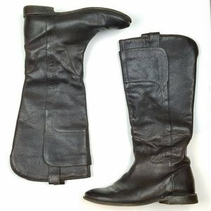 FRYE Paige Tall Brown Leather Riding Boots  S6